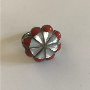 Jewelry - Vintage Silver Mother of Pearl Coral Ring 4 1/2 Sz